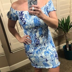 Guess Tuscan Blooms Smocked Off The Shoulder Dress